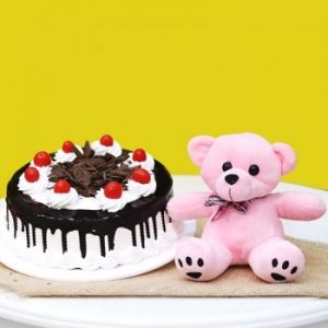 Black Forest cake with teddy bear