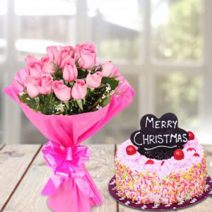 Pink roses bouquet with christmas cake