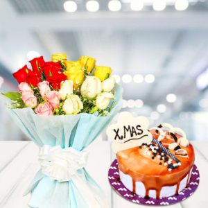 xmas cake with flower bouquet