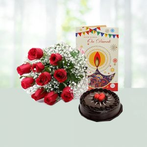 chocolate cake with card and flowers
