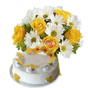 Pineapple Cake With Mix Flower