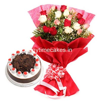 Black Forest With Mix Rose Bouquet