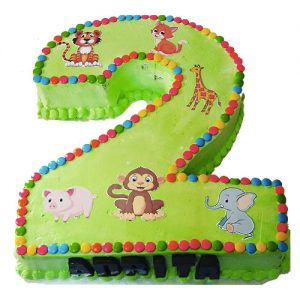 2 number shaped cake for kids birthday