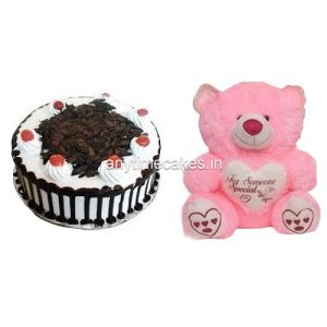 Black forest cake with a teddy