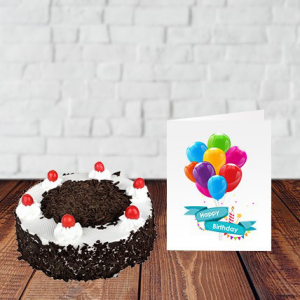 Delicious Black Forest Cake with card