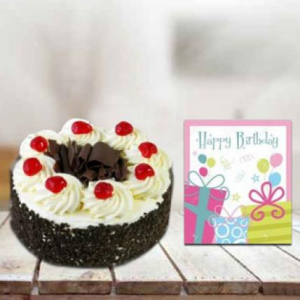 black forest cake with HB card